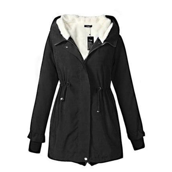 Women Hooded Parka Fleece Top Winter Warm Long Jacket Coat