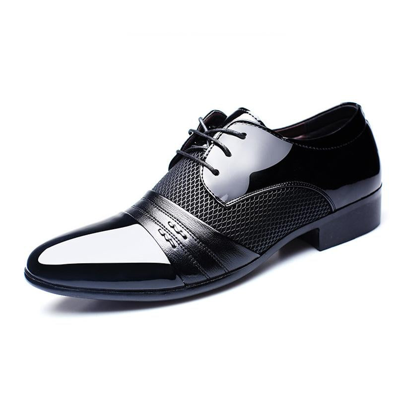 Men Formal Pointed Toe Lace Up Plaid Check Business Blucher Shoes