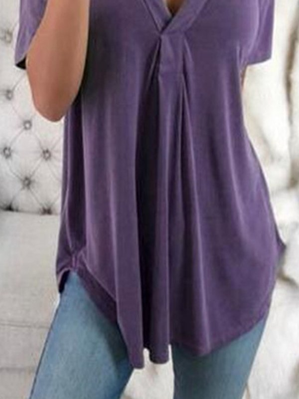 V-Neck Short-Sleeved Shirt Loose Top