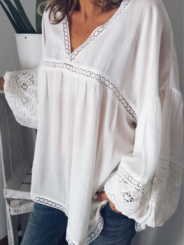 White Cotton-Blend Long Sleeve Solid Shirts & Tops