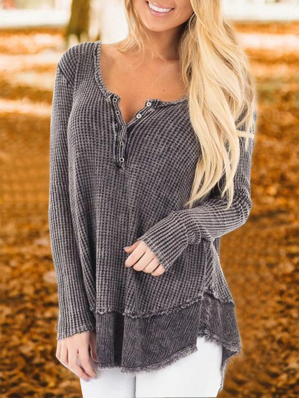 Gray Buttoned Casual Long Sleeve Shirts & Tops