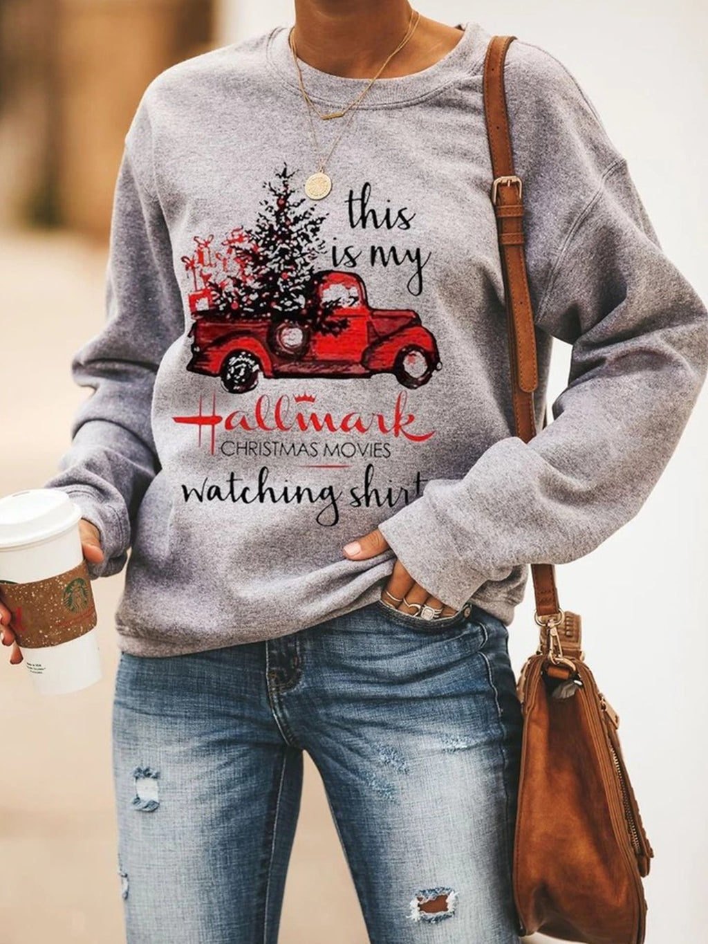 Christmas Gray Printed Crew Neck Long Sleeve Sweatshirts