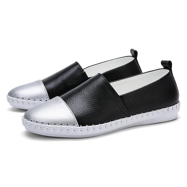Color Block Panel Genuine Leather Spring/fall Daily Loafers
