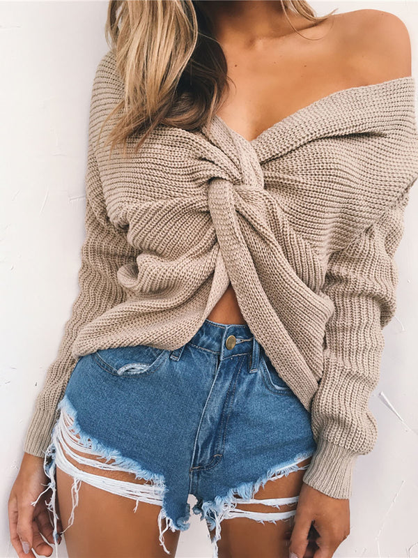 Camel Backless V Neck Sweater