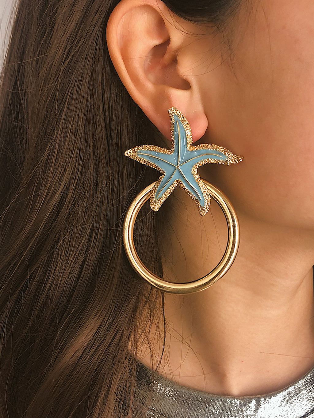 Simple Alloy Star Women Earrings