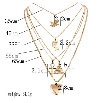 Golden Vintage Holiday Beach Heart-shaped Alloy Necklace