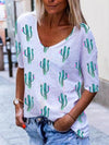 Cactus Print Casual T-Shirts Women's Round Neck Short Sleeves Tops