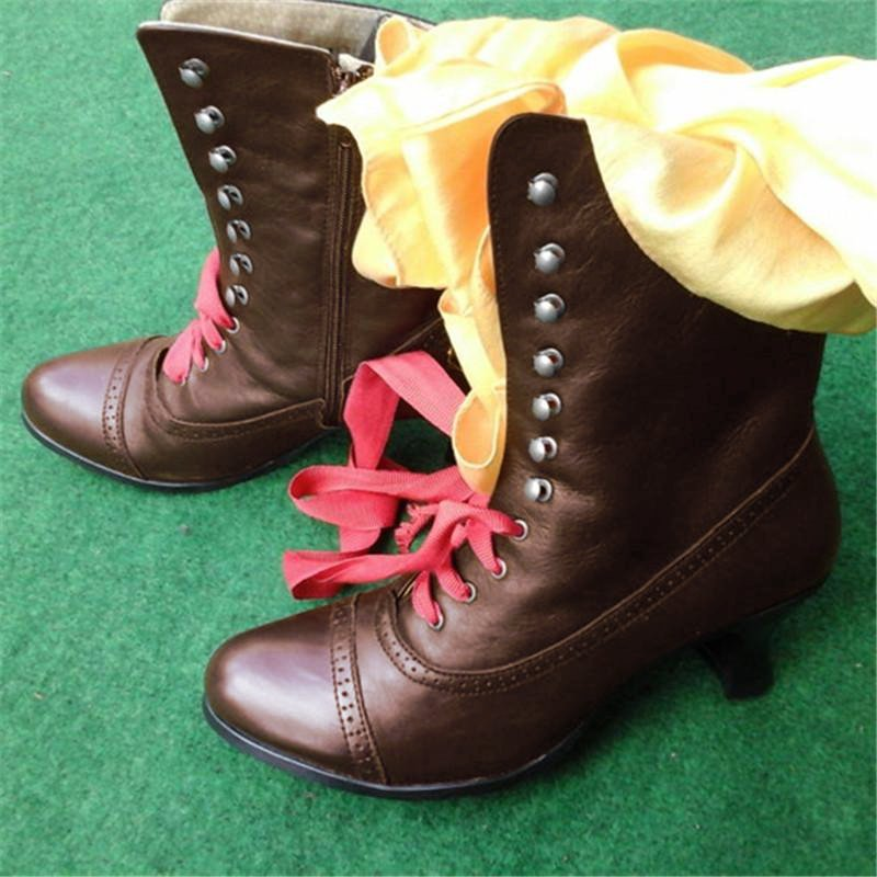 Women Casual Low Heel Zipper Pu Boots