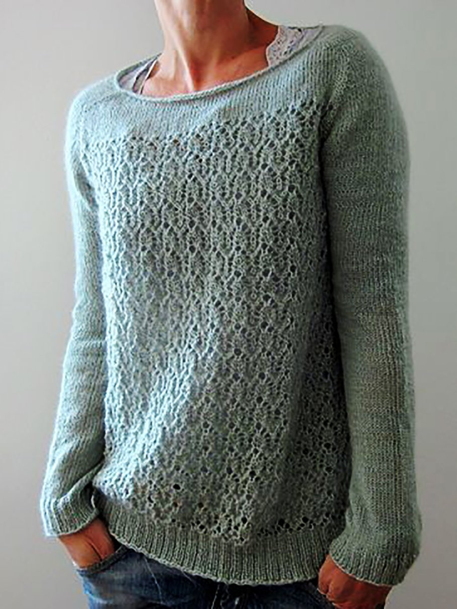 Knitted Long Sleeve Crew Neck Sweater