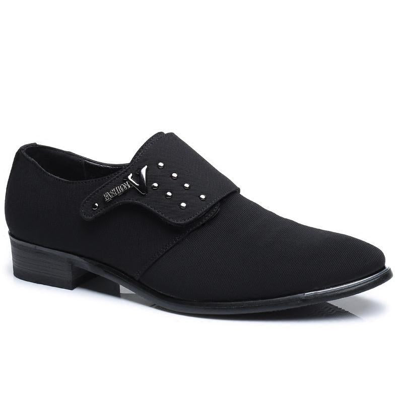 Black Buckle Cocktail Leather Winter Formal Shoes