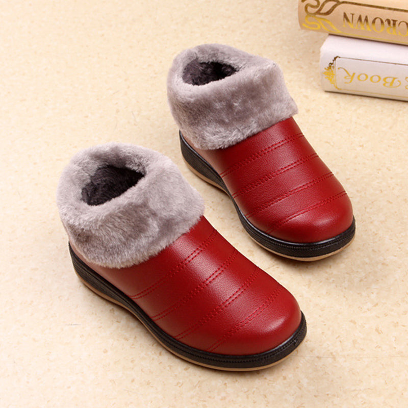 Fleece-lined Warm Ankle Shoes Women Slip-On PU Boots