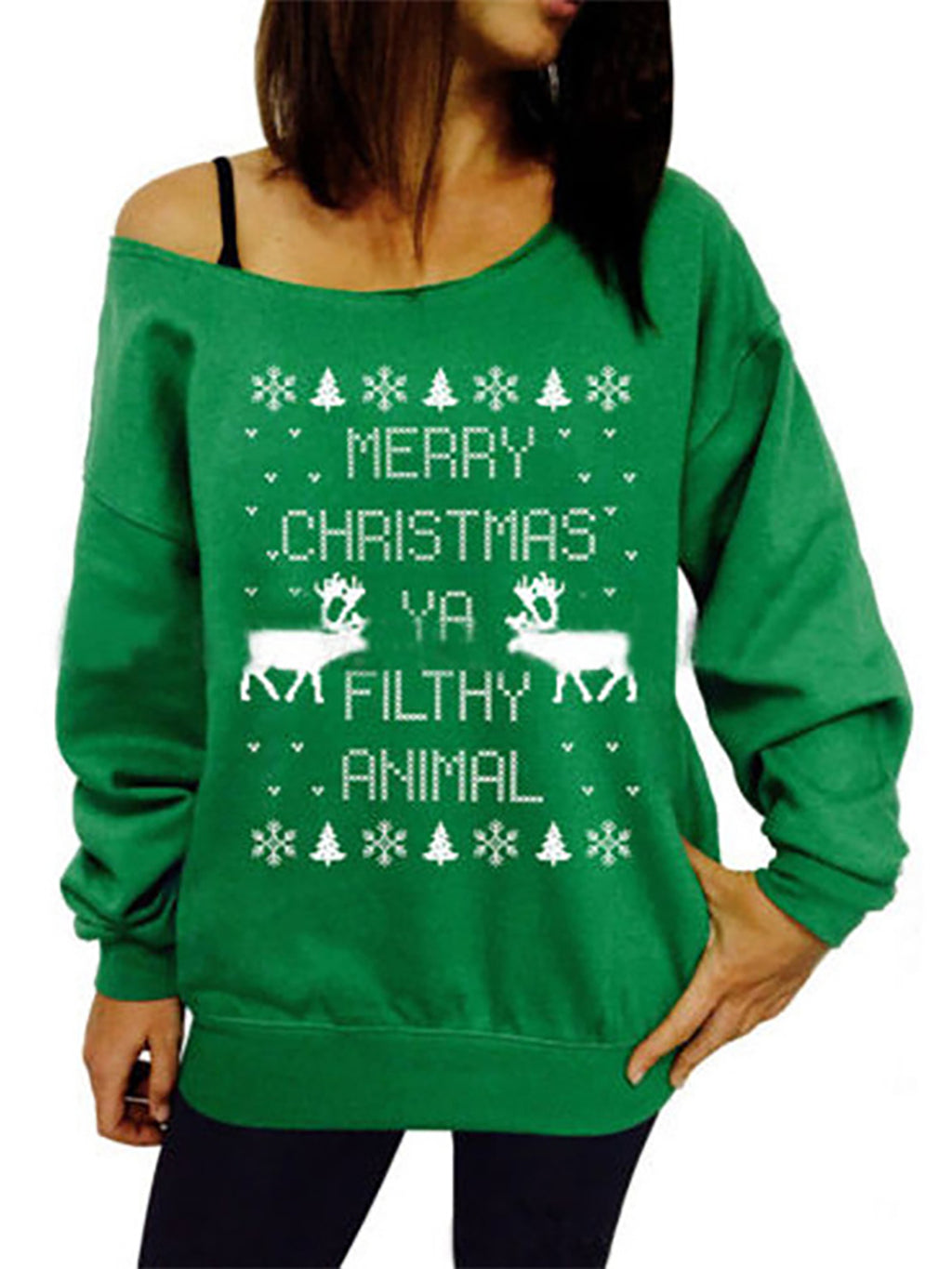 Christmas Snowflake Elk Knitted Long Sleeve Casual Sweaters