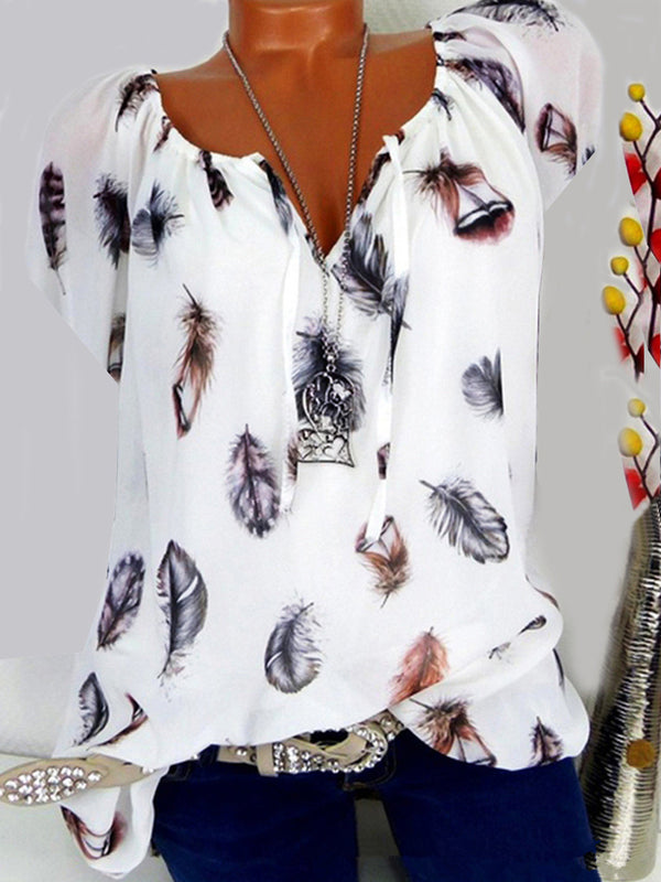 Plus Size Feather Print Cotton-Blend Women Summer Blouses