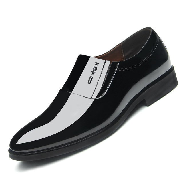 Men Pure Color Slip Resistant Slip On Casual Formal Shoes