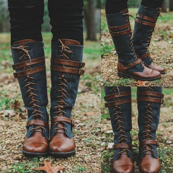 Vintage Lace Up Mid-calf Boots Adjustable Buckle Casual Low Heel Paneled Boots