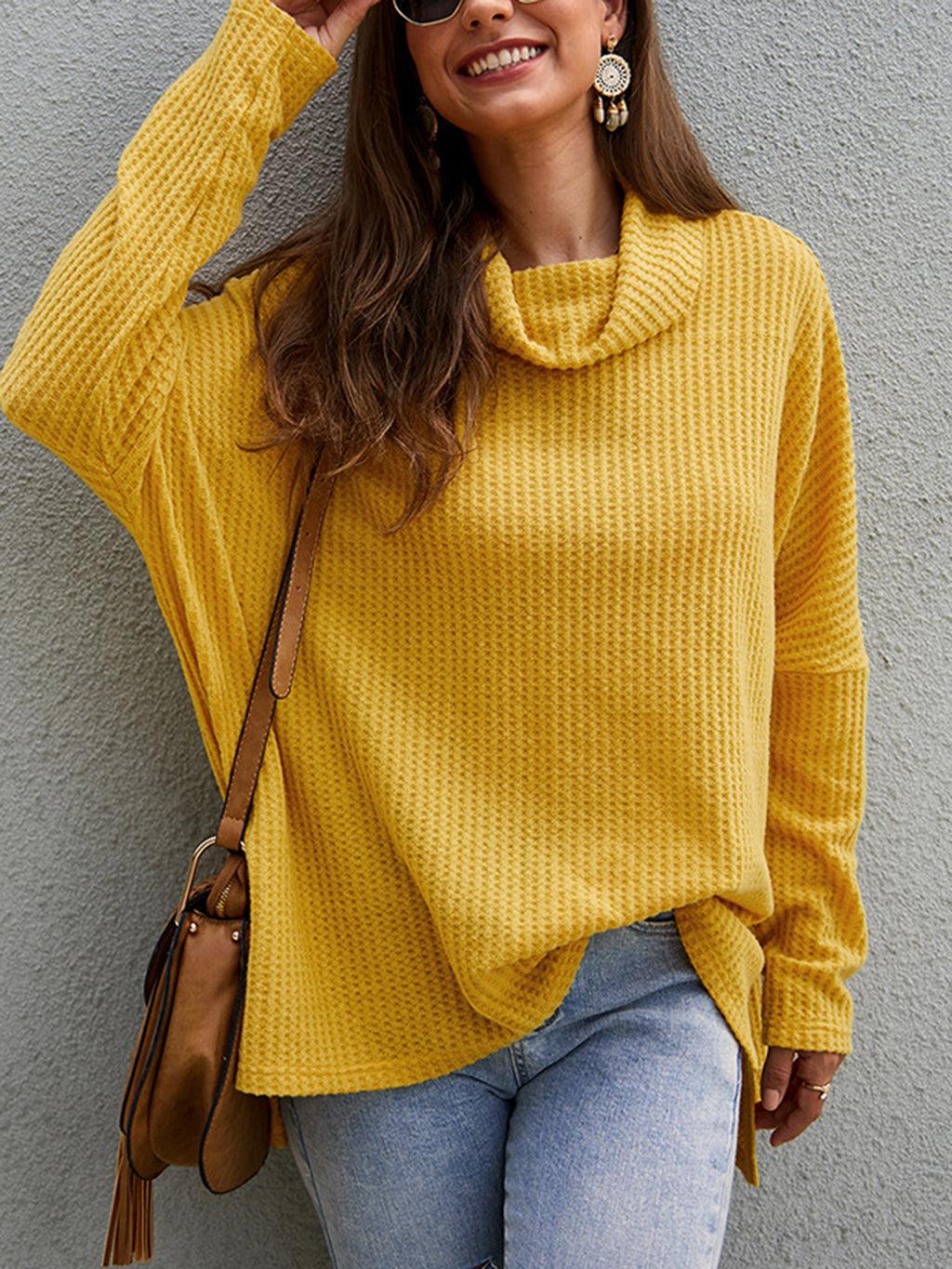 Cowl Neck Solid Long Sleeve Casual Sweater