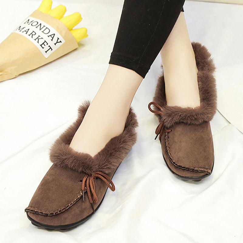 Women's Fur Winter Suede Flat Heel Snow Boots