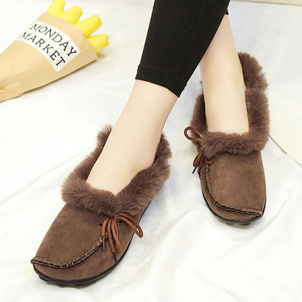 2018 Women's Fur Winter Suede Flat Heel Snow Boots