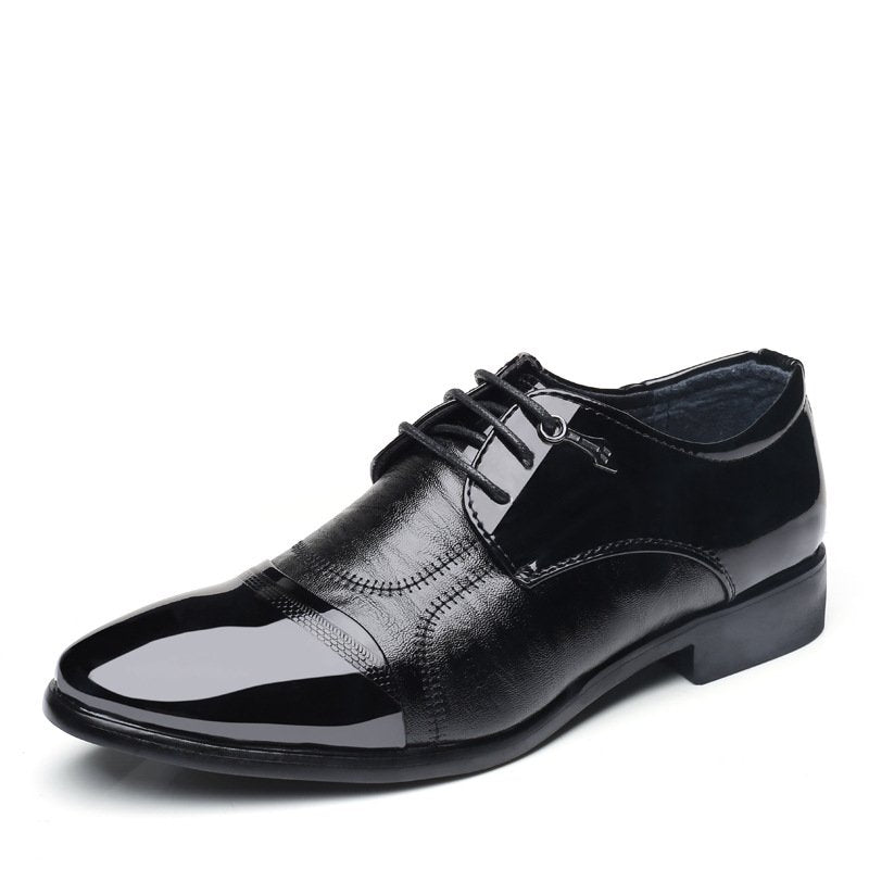 Patent Leather Panel Lace Up Work Shoes