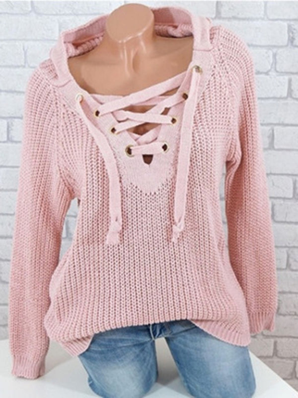 Lace Up Knitted Knit Wear Jumper Sweaters With Hoodie