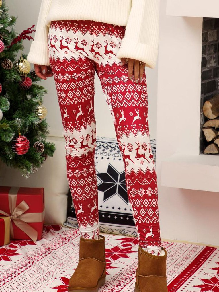 Christmas  Snowflake Elk Cotton-Blend Pants