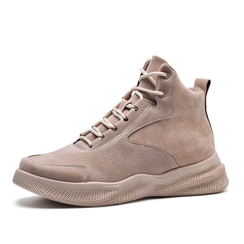 Men Stitching Short Boots Irregular Waves Sole Casual Shoes