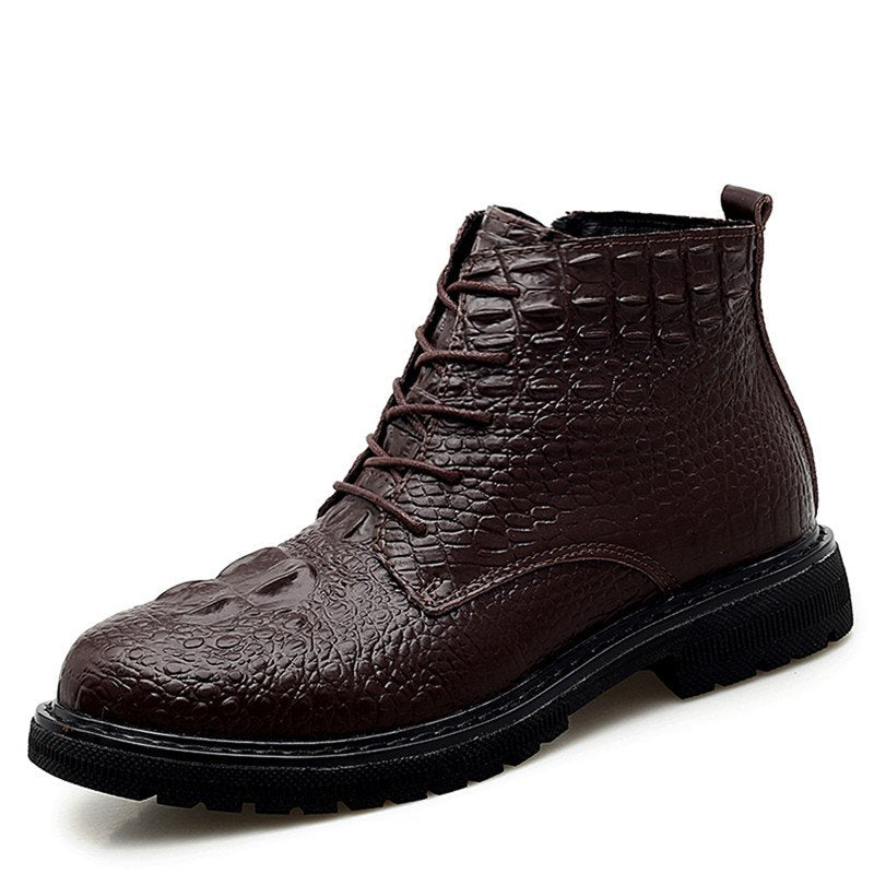 Men's Fall Winter High-top Boots Crocodile Pattern Lace Up Dress Shoes