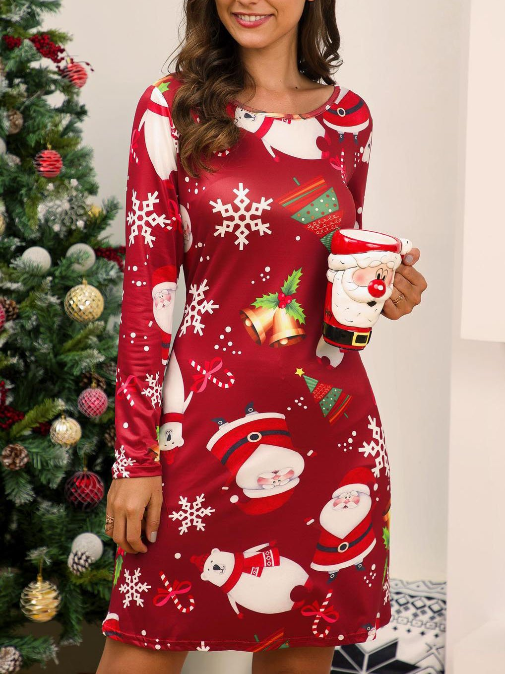 Christmas Snowflake Red Casual Cotton-Blend Dresses