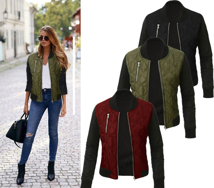 Stand Collar Patchwork Casual Jacket