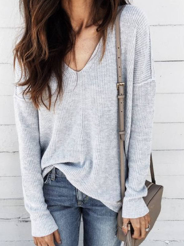 Light Gray Long Sleeve V Neck Casual Shirts & Tops