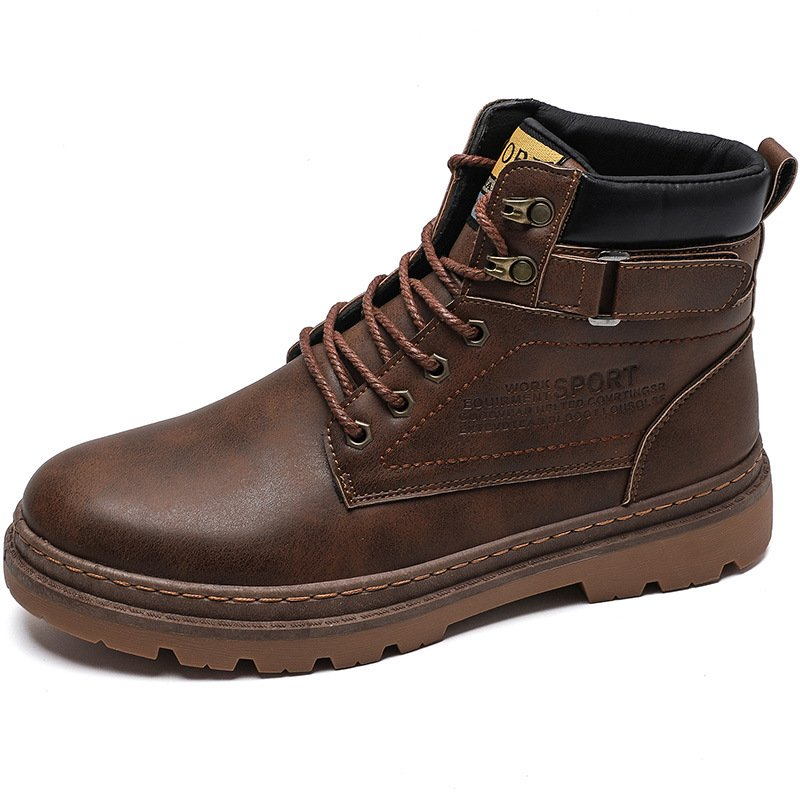 Men's High-top Durable Tooling Boots Solid Color Lace-up Shoes