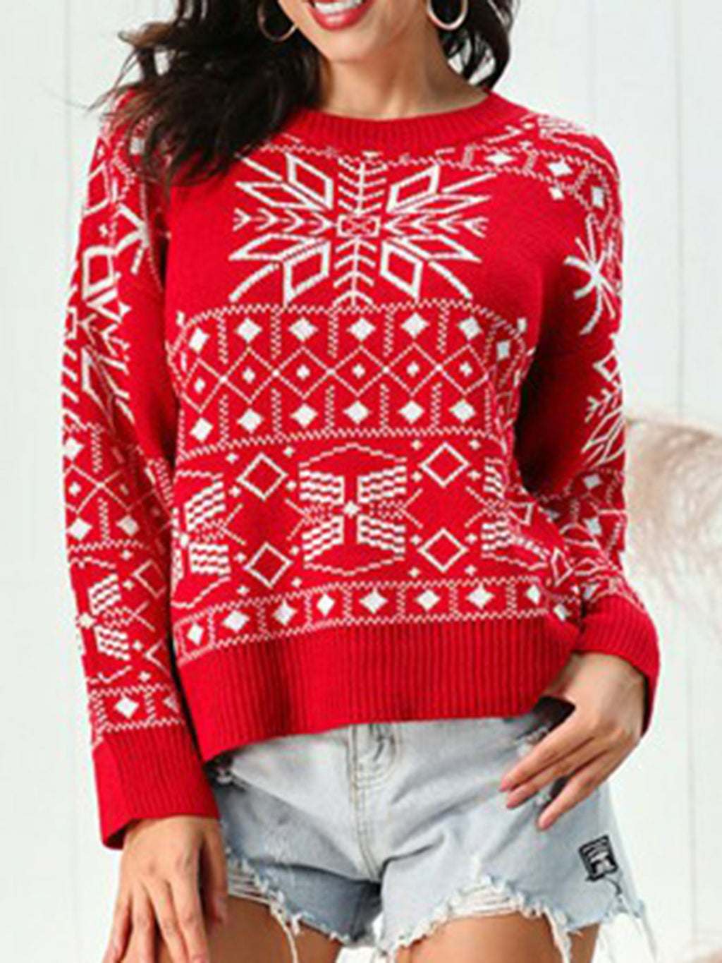Red Acrylic Crew Neck Casual Geometric Sweater