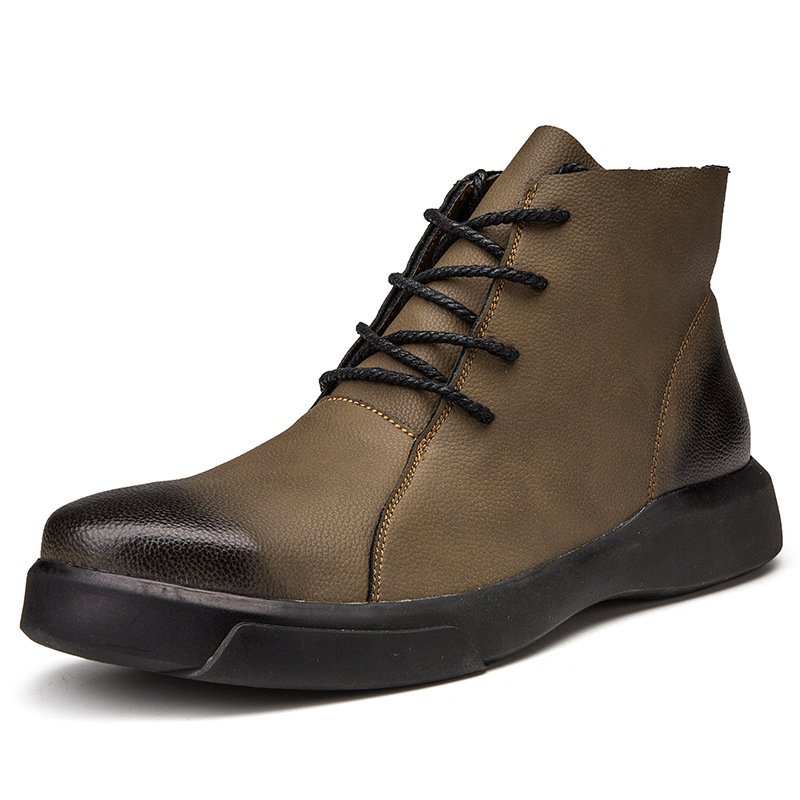 Men High-top Boots Lace-up Casual Leather Durable