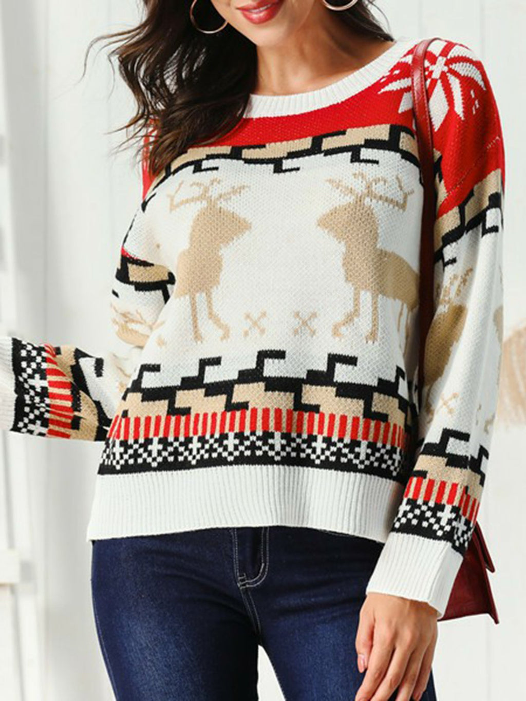 White Long Sleeve Crew Neck Sweater