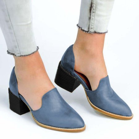 Womens Chunky Round Toe Ankle Boots