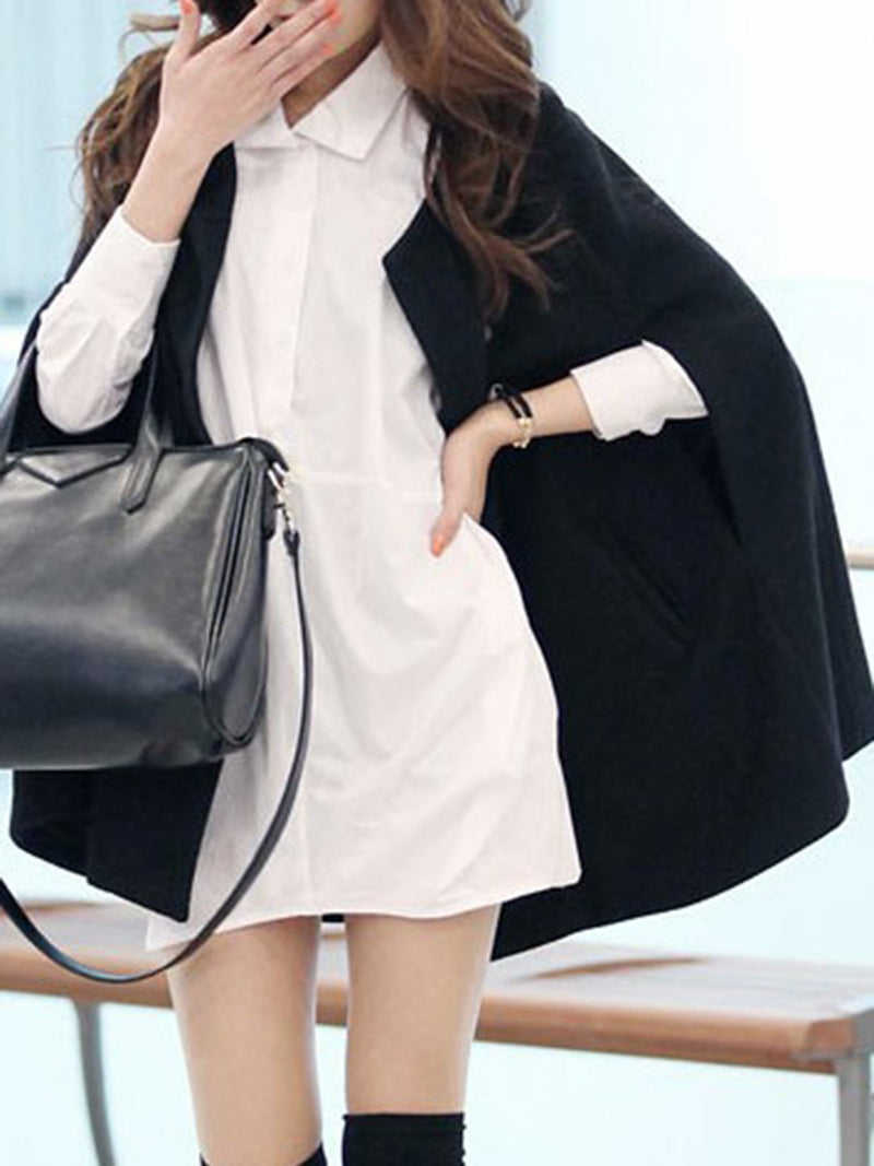 Black Cape Sleeve Crew Neck Solid Poncho