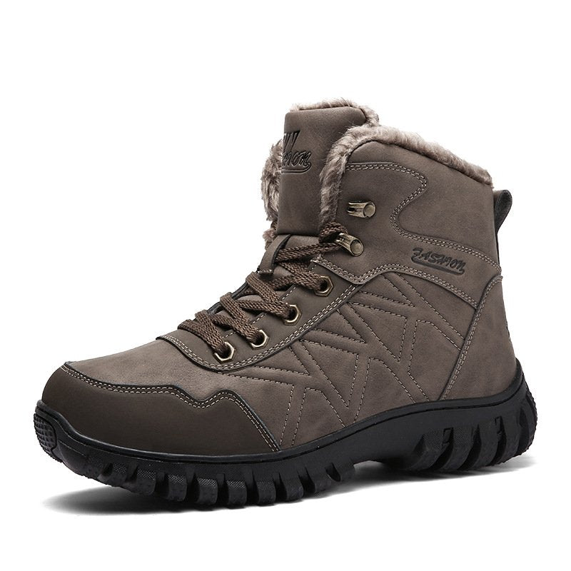 Men's High-top Outdoor Snow Boots Warm Shoes Thick Outsole