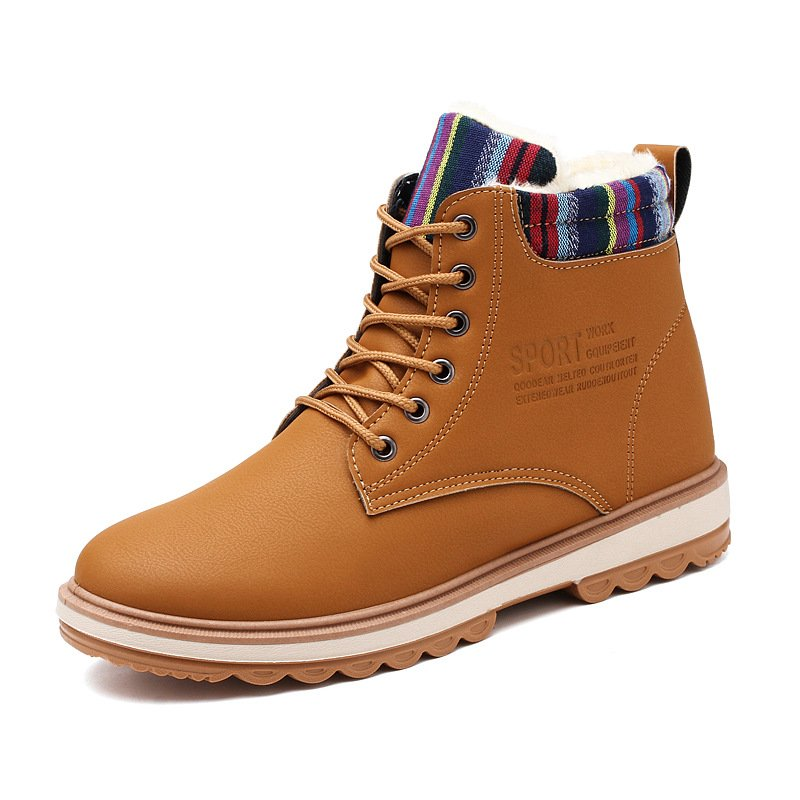 Men's High-top Keep Warm Boots Solid Color Lace-up Casual Shoes