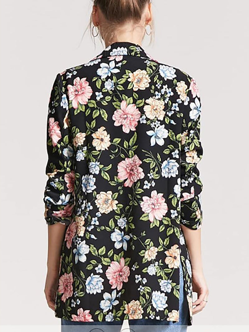 Black Floral Printed Casual Coat