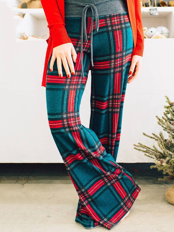 3 Knids Natural Drawstring Gingham Paneled Christmas Loose Pants