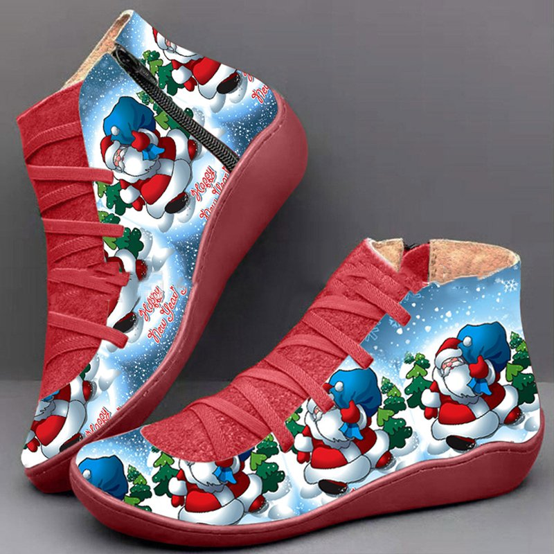 Christmas Santa Claus Zipper Flat Heel Ankle All Season Boots
