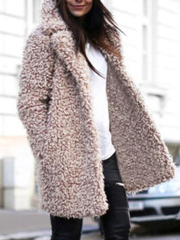 2018  Stylish Faux Fur Plain Women's Winter Warmest Sherpa Coats