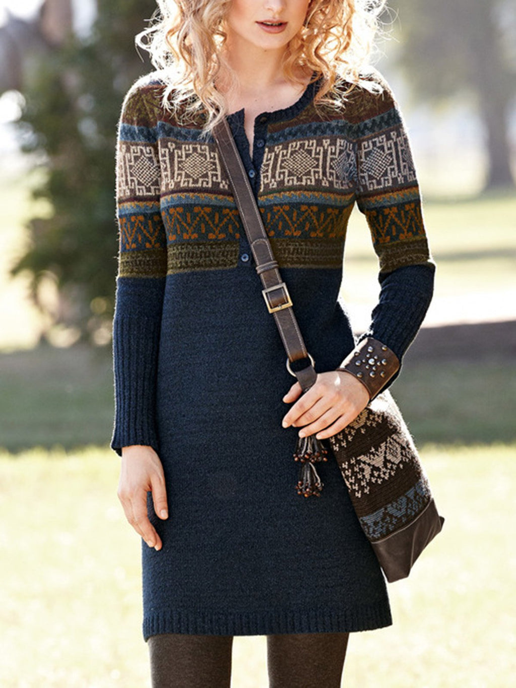 Casual Knitted Long Sleeve Sheath Dresses