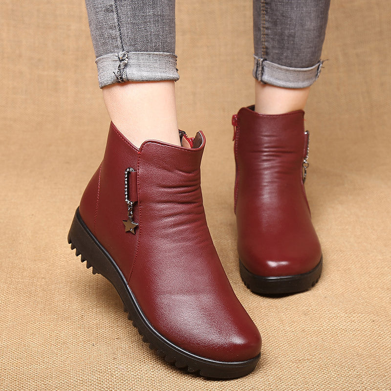 Fleece-lined Zipper Boots Women Slip-On Ankle Shoes