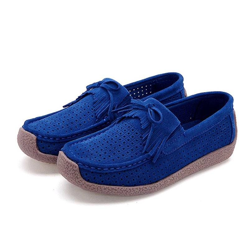 Women Nubuck Loafers Casual Bowknot Plus Size Shoes