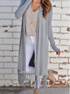 Casual Stripes Fringed Long Sleeve Cardigan