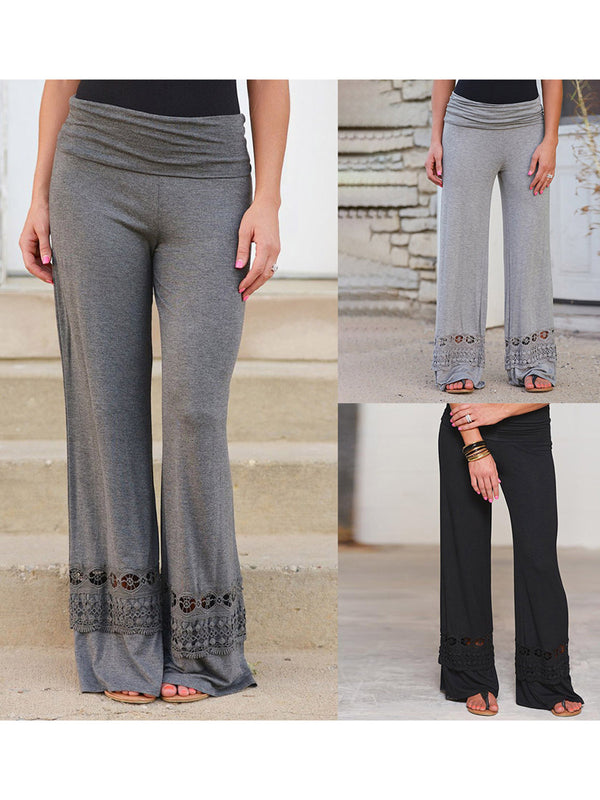 3 Colors Pierced All Season Natural Solid Loose Pants