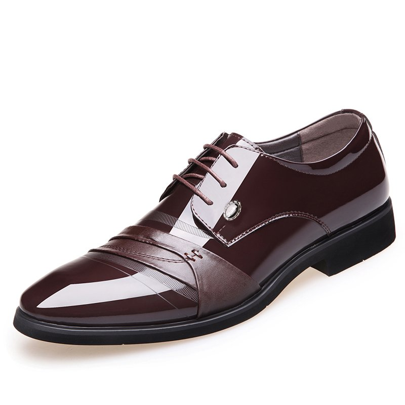 Men Leather Splicing Non-slip Large Size Business Casual Formal Shoes