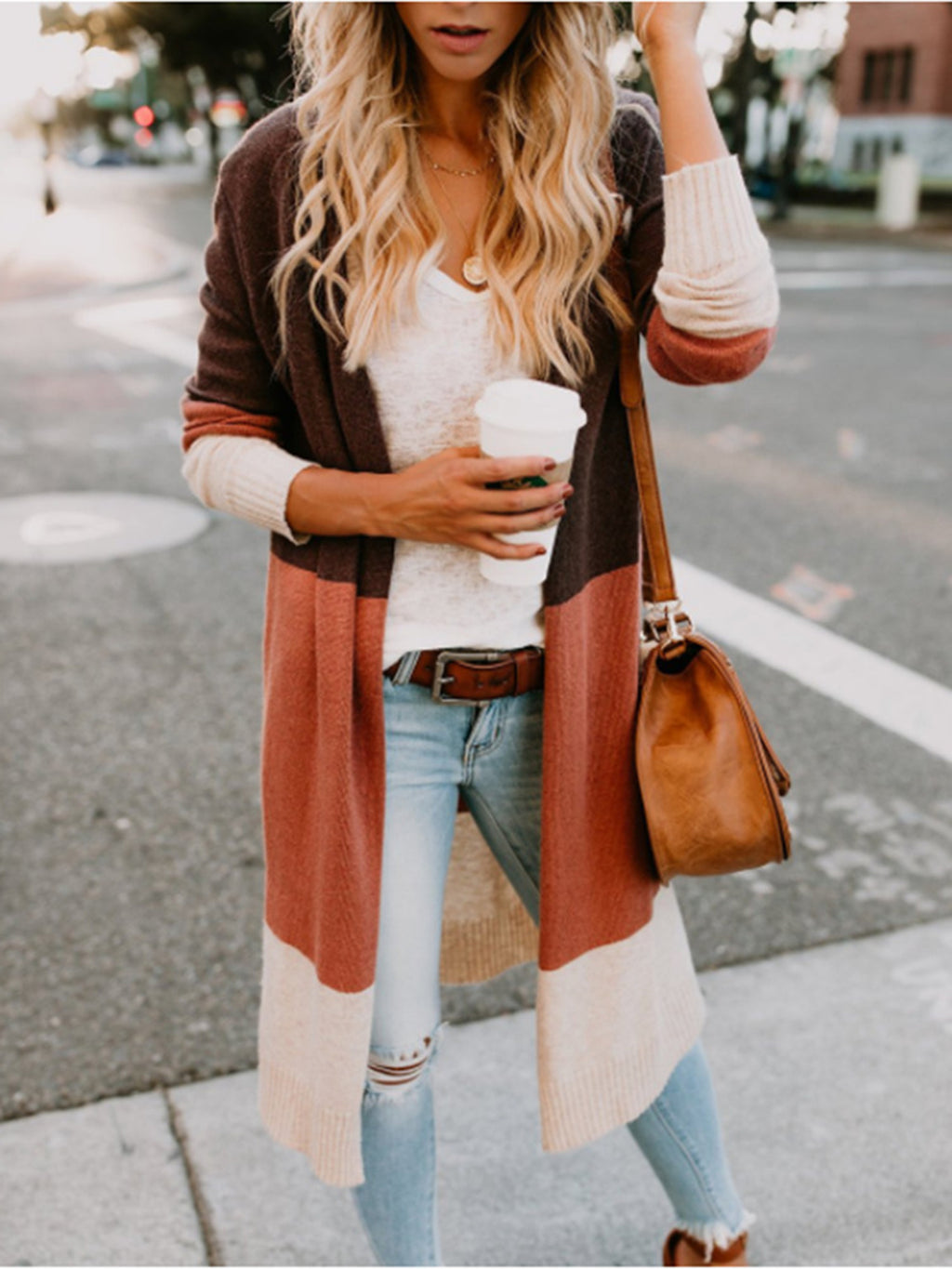 Patchwork Round Neck Cardigan
