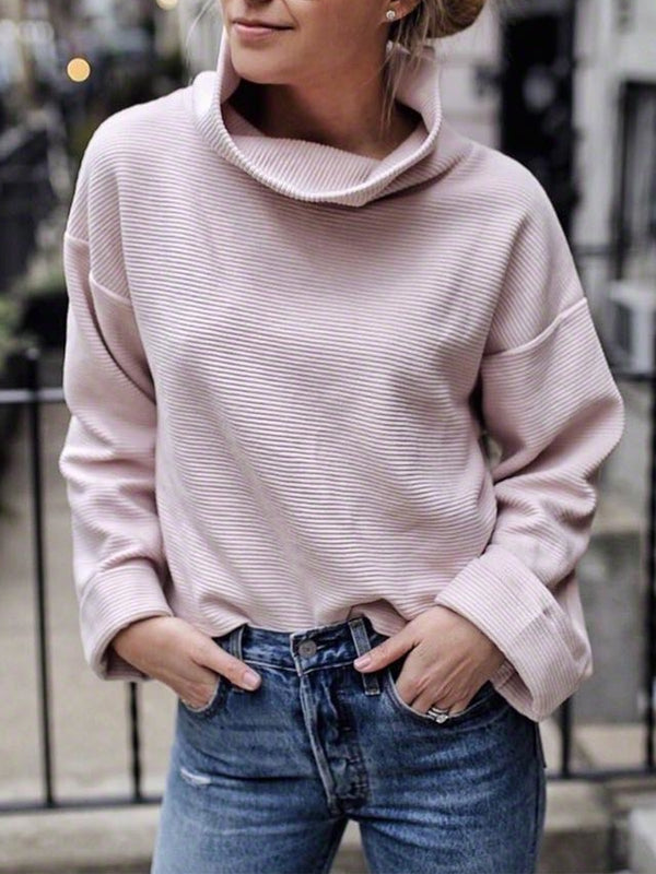 Plus Size Casual Turtleneck Long Sleeve Sweater